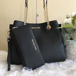 Michael Kors large teagen satchel & wallet bundle